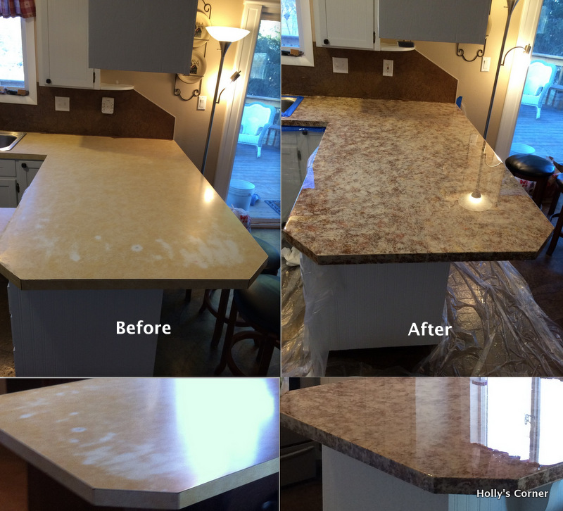 Before and after countertop refinishing.